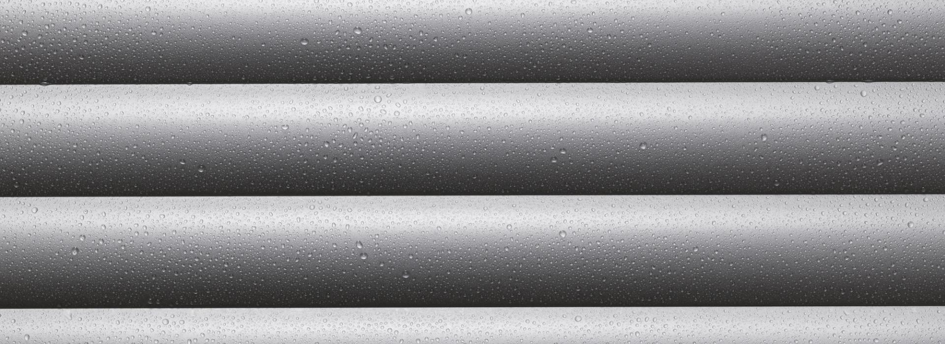 Roller shutter profile detailed view with water drops
